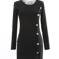 Button Detail Long Sleeve Asymmetric Dress