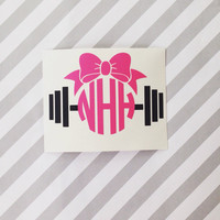 Barbell Monogramed Decal   Personalized   Custom   Monogrammed   Fitness   Girls Who Lift   Barbell   Weight   Car Decal