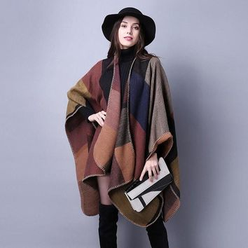 New Women Poncho Elegant Colorful Block Autumn Winter Wool Blends Shawl Cape Ladies Casual Blanket Cloak