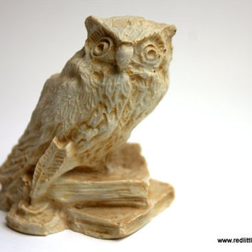 Beige  Vintage Owl Sitting on Two Books, home decor, book worm, desk accessories, collectors