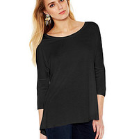 Bar III Three-Quarter-Sleeve High-Low Top