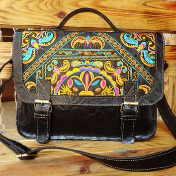 Genuine Leather Embroidered Handbag Laptop Bag Crossbody Shoulder Bag