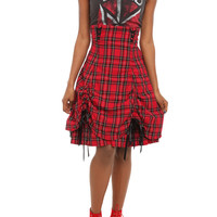 Spin Doctor High-Waisted Red Plaid Bustle Skirt | Hot Topic