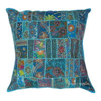 "24"" Blue Vintage Patchwork Embroidered Throw Pillow Cushion Case Sham"