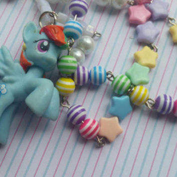 Rainbow Dash my little pony silver plated necklace. Kawaii. Cute. Kitsch. Friendship is magical.