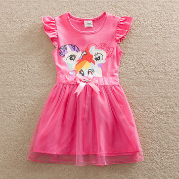 Retail costume Baby girl dress my little pony christmas lace child dress kid clothes children dress baby girl clothes SD669