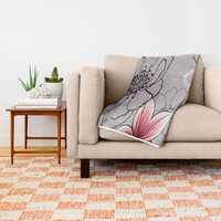 Pink Floral On Grey Throw Blanket by ALLY COXON | Society6