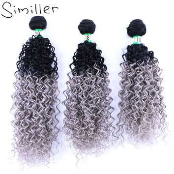 Similler 210g Ladies Black Grey Ombre Hair Extensions Synthetic Hair Weaving Bundle Curly Weft