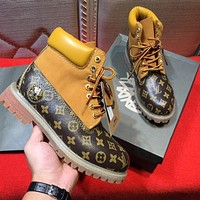 LOUIS VUITTON x Timberland Men's Sneakers Leather Winter Boots