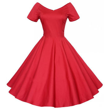 Woman Hepburn Style Dress 50s Solid Color Big Peplum   red   S