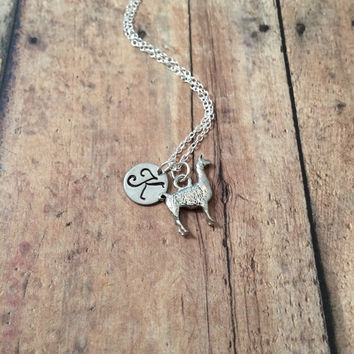 Llama initial necklace - llama jewelry, alpaca necklace, zoo animal jewelry, Peru necklace, alpaca jewelry, silver llama necklace,