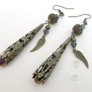 Maleficent vintage brass earrings with wings and filigree cones by PragueVintage on Etsy