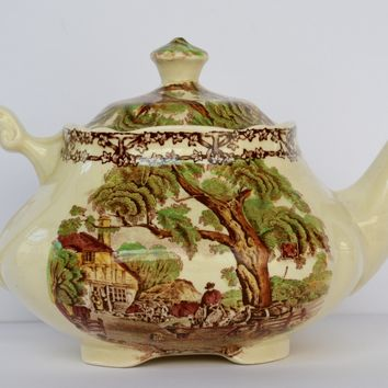 Polychrome Hand Painted Brown Transferware Teapot Rural Scenes French / English Cottage Horses