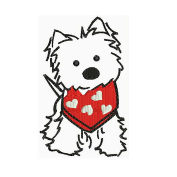 West Highland White Terrier Puppy Machine Embroidery Designs - Animal Instant Download Filled Stitches Design 137