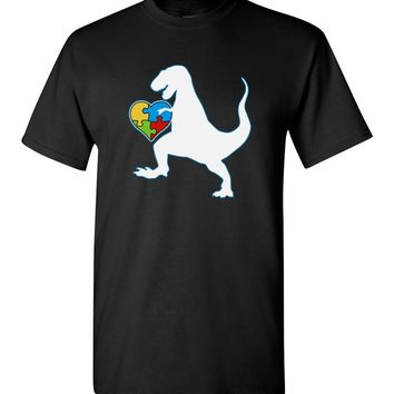 Autism Au Saurus Heart Puzzle Love Autism Awareness Shirt