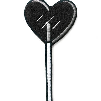 Heart Lolli Chenille Patch - Black