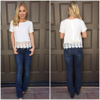 Trippin Billies White Crochet Blouse