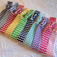 Chevron Hair Ties - Set of 10 - Black. Gray. Red. Yellow. Lime. Navy. Aqua. Violet. Hot Pink. Pink. Chevron Elastic Hair Ties