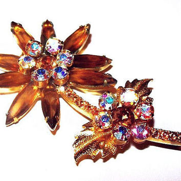 "Juliana D & E Brooch Honey Topaz Ab Rhinestones Flower Gold Metal 2.5"" Vintage"