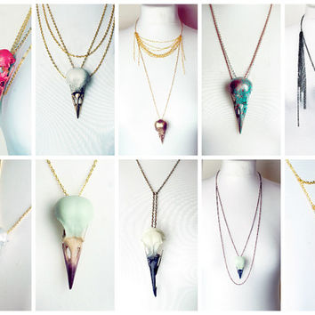 CUSTOM Bird skull necklace- made just for you to your specifics