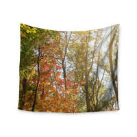 "Sylvia Coomes ""Autumn Trees 1"" Green Orange Wall Tapestry"