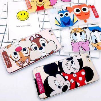 For iPhone X Mickey Minnie Mouse Fundas Cover Phone Case For iPhone 6 6s 7 8 plus Donald Daisy Duck Chip Dale Case Capa