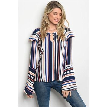 I'm Flattered, Striped Bell Sleeve Top