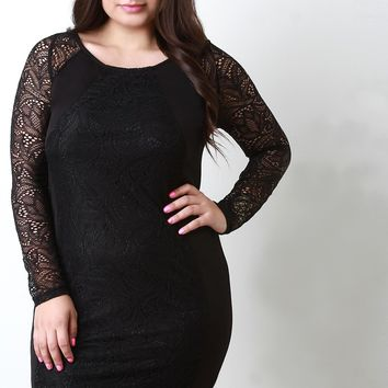 Long Sleeve Lace Contrast Bodycon Dress
