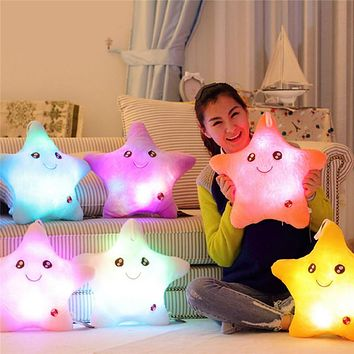 Star Luminous Pillow Juguetes for Girls Stuffed Soft Plush Glow Cushion Star Smile Led Light Pillow Kids Toys for Children gift
