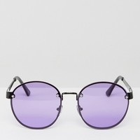 ASOS Round 90s Sunglasses With Lilac Colored Lens at asos.com