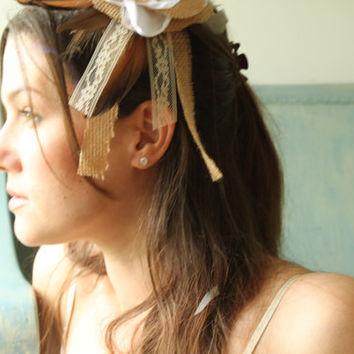 Mori Girl Hair Accessory in Burlap and Lace with Feathers Hair Clip