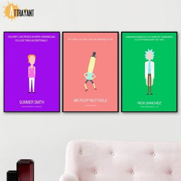 Rick And Morty Nordic Posters And Prints Wall Art Canvas Painting Wall Pictures For Kids Bedroom Baby Boy Girl Room Home Decor