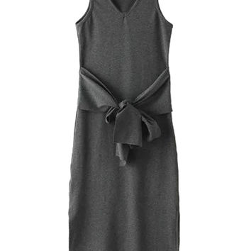 Deep Gray V-neck Tie Front Side Split Ribbed Dress