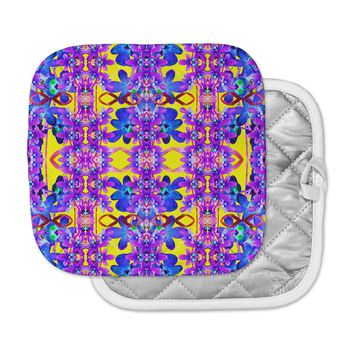 "Dawid Roc ""Tropical Orchid Dark Floral 3"" Purple Yellow Pot Holder"