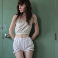 Cotton Eyelet Bloomers . Handmade Shorts . Underwear . Boudoir . Lingerie . Sleep Wear