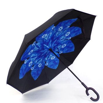 Ceiourich Blue Flower Long Umbrellas Double Layer Inverted Car Reverse Umbrellas Rainy with C-shaped Handle Reverse Umbrella-001
