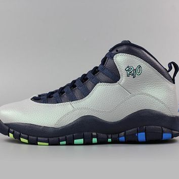 "Nike Air Jordan 10 Retro ""Rio"" Wolf Grey Black Blue -(310805-019) Basketball Sneaker"