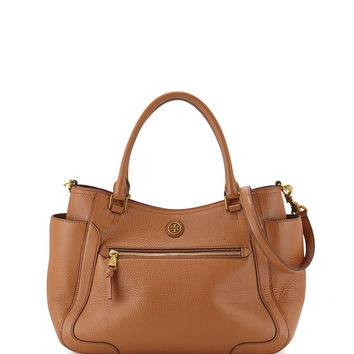 Frances Leather Satchel Bag, Bark - Tory Burch