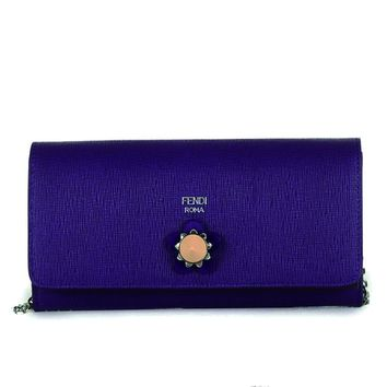 Fendi Purple Crayons Long Leather Chain Wallet 8M0365