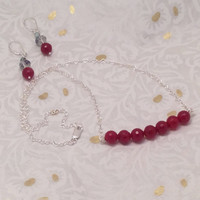 Red Jade Beads on Silver Heart Chain Necklace