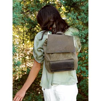 Booker Leather Canvas Backpack