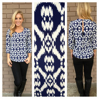 Navy & White Scott Print Blouse