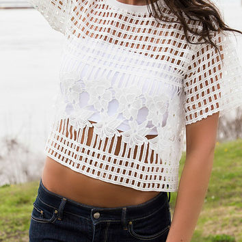 Sheer Necessities White Short Sleeve Floral Crochet Top