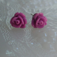 Mini purple rose earrings- Rose earrings- Purple roses- Purple earrings- Purple- Dark purple rose earrings- Fashion- Feminine
