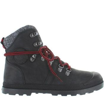 Palladium Pallabrouse Hiker Lp   Black/red/castlerock Leather/textile Hiking Boot