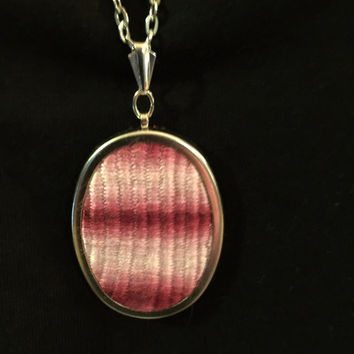 Hand Woven Pendant Necklace Pink Red