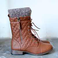 alpine quilted sweater boots , cognac | final sale