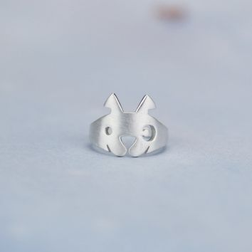 925 Sterling Silver cute dog opening ring,a perfect gift !