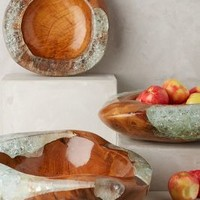 Teak and Resin Bowl by Anthropologie Neutral