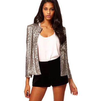 Sequins Round Neck Long Sleeved  Suit